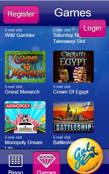 Gala mobile games selection