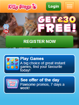 Kitty Bingo Mobile homepage
