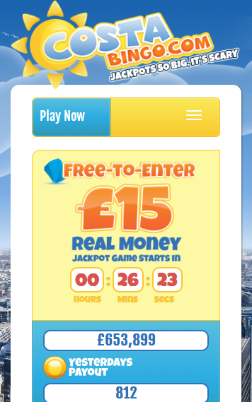 Costa Bingo Mobile homepage