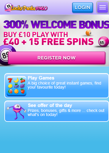 Lucky Pants Bingo Mobile homepage