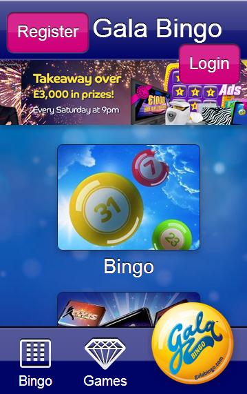 Gala Bingo Mobile homepage