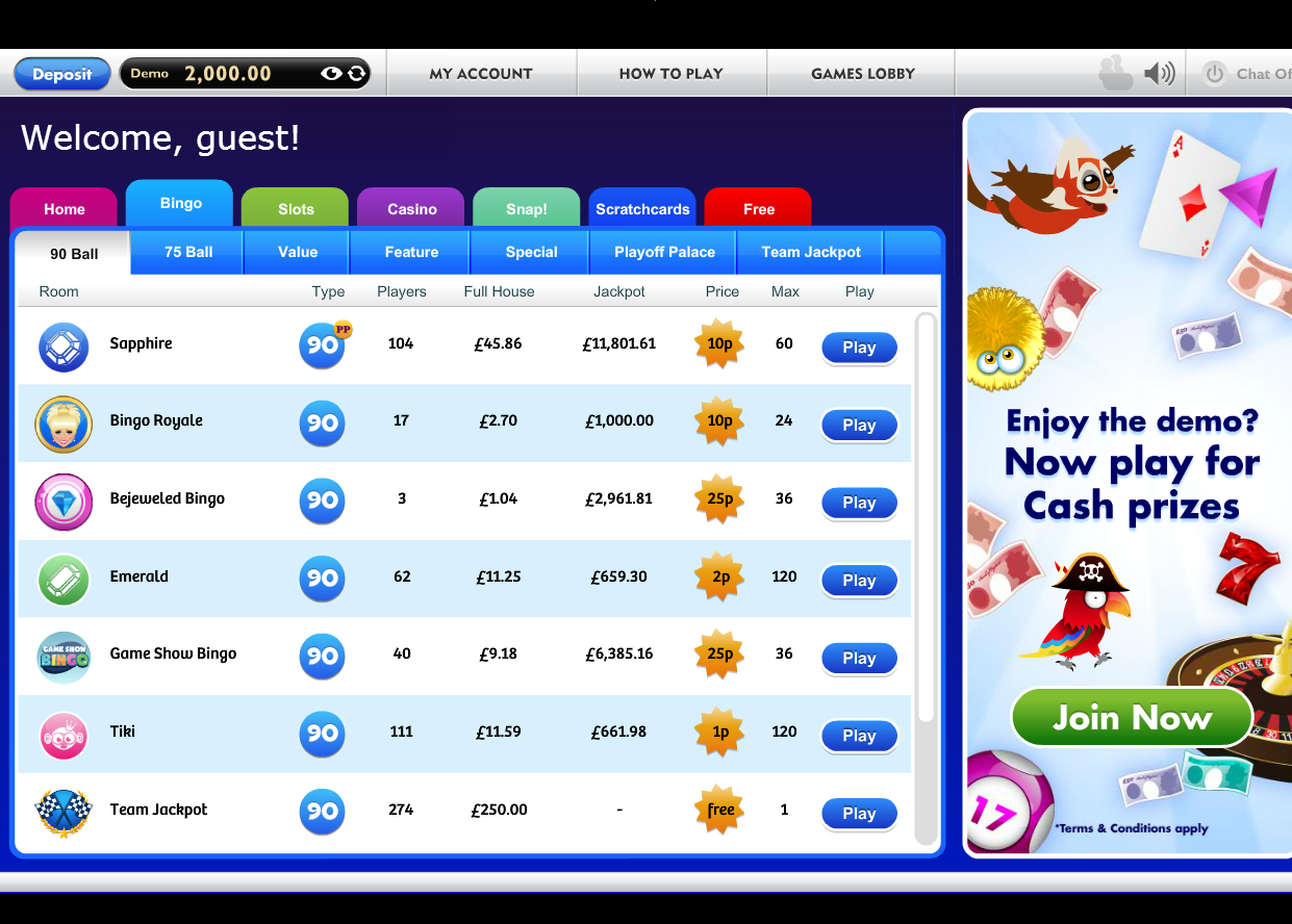 bingo lobby