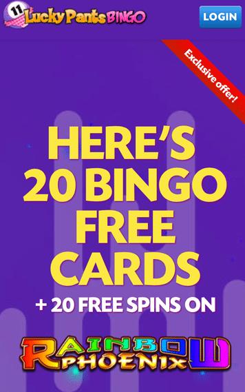 Lucky Pants Bingo Mobile homepage