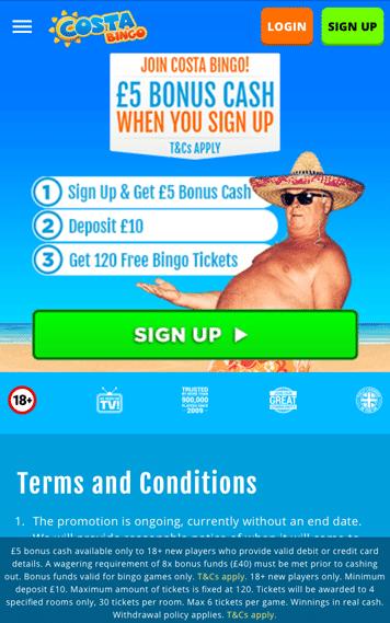 Costa Bingo Mobile homepage